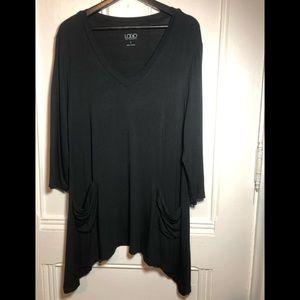 LOGO Lori Goldstein Black Draped Sides Tunic  Top